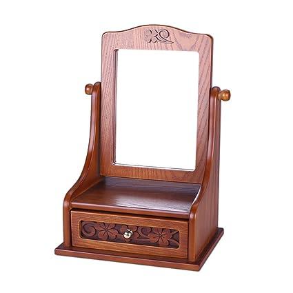 Amazon Com Tre Wooden Jewelry Box Desktop Mirror Vintage Queen