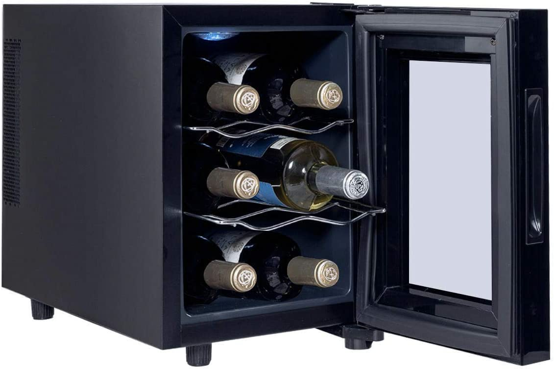 Temperature Range 20.1 x 9.8 x 14.5 Black 8 Degrees C to 18 Degrees C Color L x W x H Manoch 6 Bottle Small Black Electric Wine Sake Rack Bar Cooler Refrigerator Glass Door Overall dimension