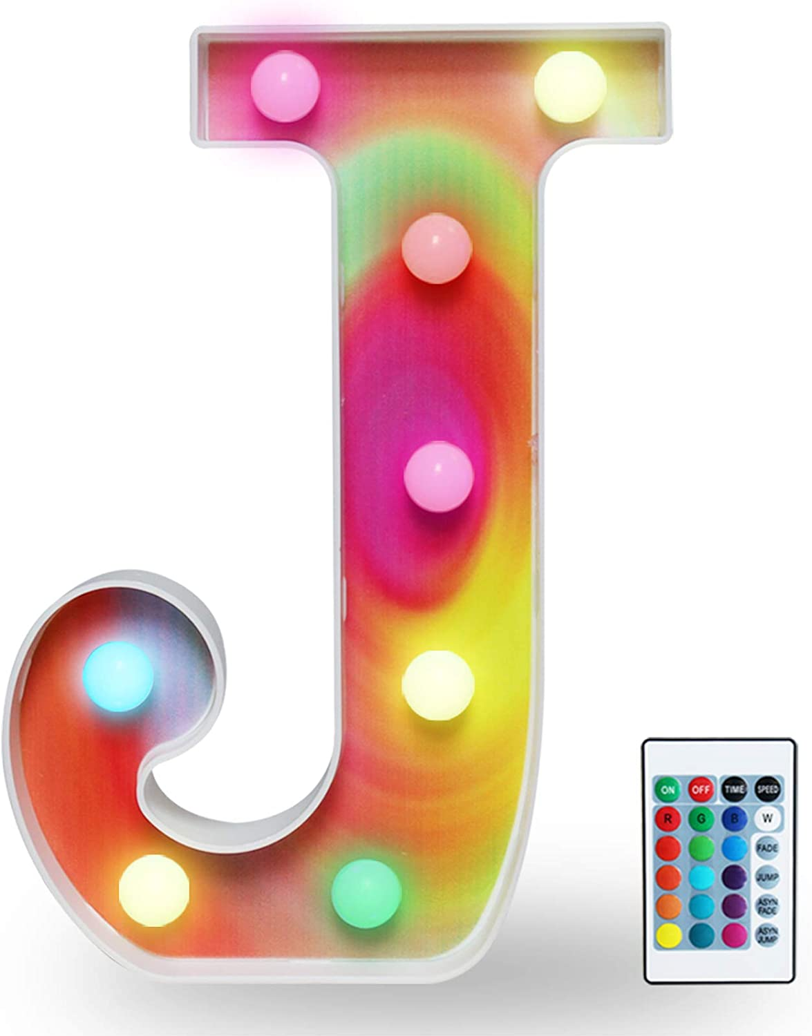 Rainbow Multiple Light up Letters with Remote, 16 Colors Alphabet Letter Lights LED Bar Signs for Wall, Table, Bedroom, Home Decor-Rainbow Letter J