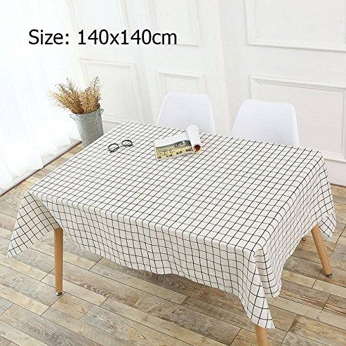 Sytlish Linen Table Cloth Country Style Plaid Print Multifunctional Rectangle Table Cover Tablecloth Home Kitchen Decoration Size: 140x140cm