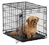 """MidWest 24"""" iCrate Folding Metal Dog Crate w/ Divider Panel, Floor Protecting """"Roller"""" Feet & Leak-Proof Plastic Tray; 24L x 18W x 19H Inches, Small Dog Breed"""