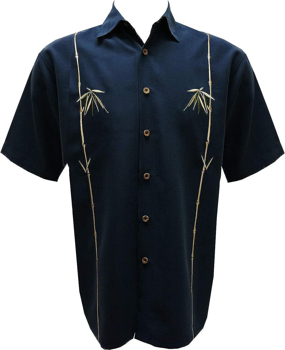 Bamboo Cay Mens Short Sleeve Dual Bamboos Casual Embroidered Woven Shirt