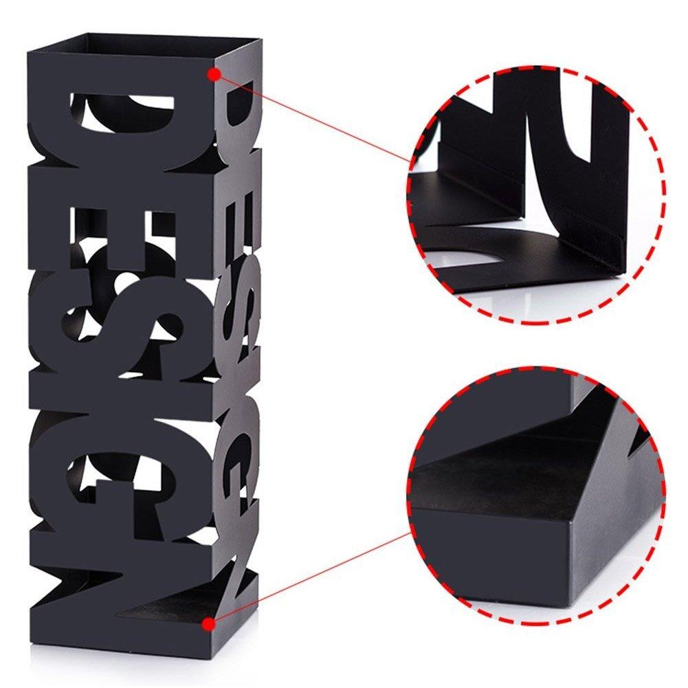 Portaombrelli in Ferro Design Quadrato Stand Nero Vaschetta Salvagoccia con Gancetti e Intarsi Che Formano La Scritta Design