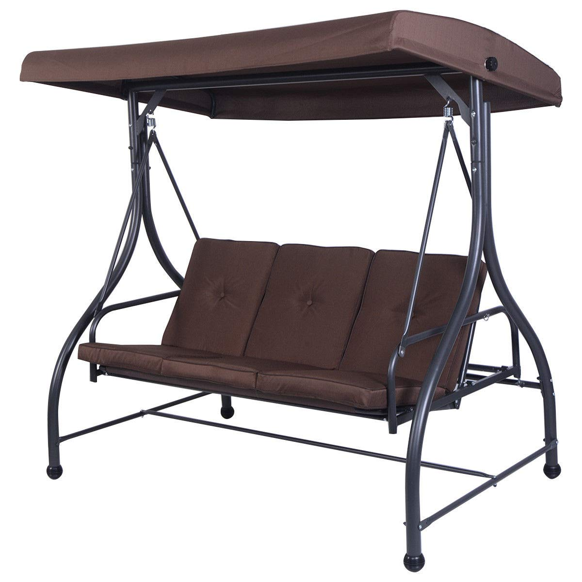 Globe House Products GHP 73''x44''x68'' 750-Lbs Capacity Adjustable Back Flat Bed Swing Bench w Canopy