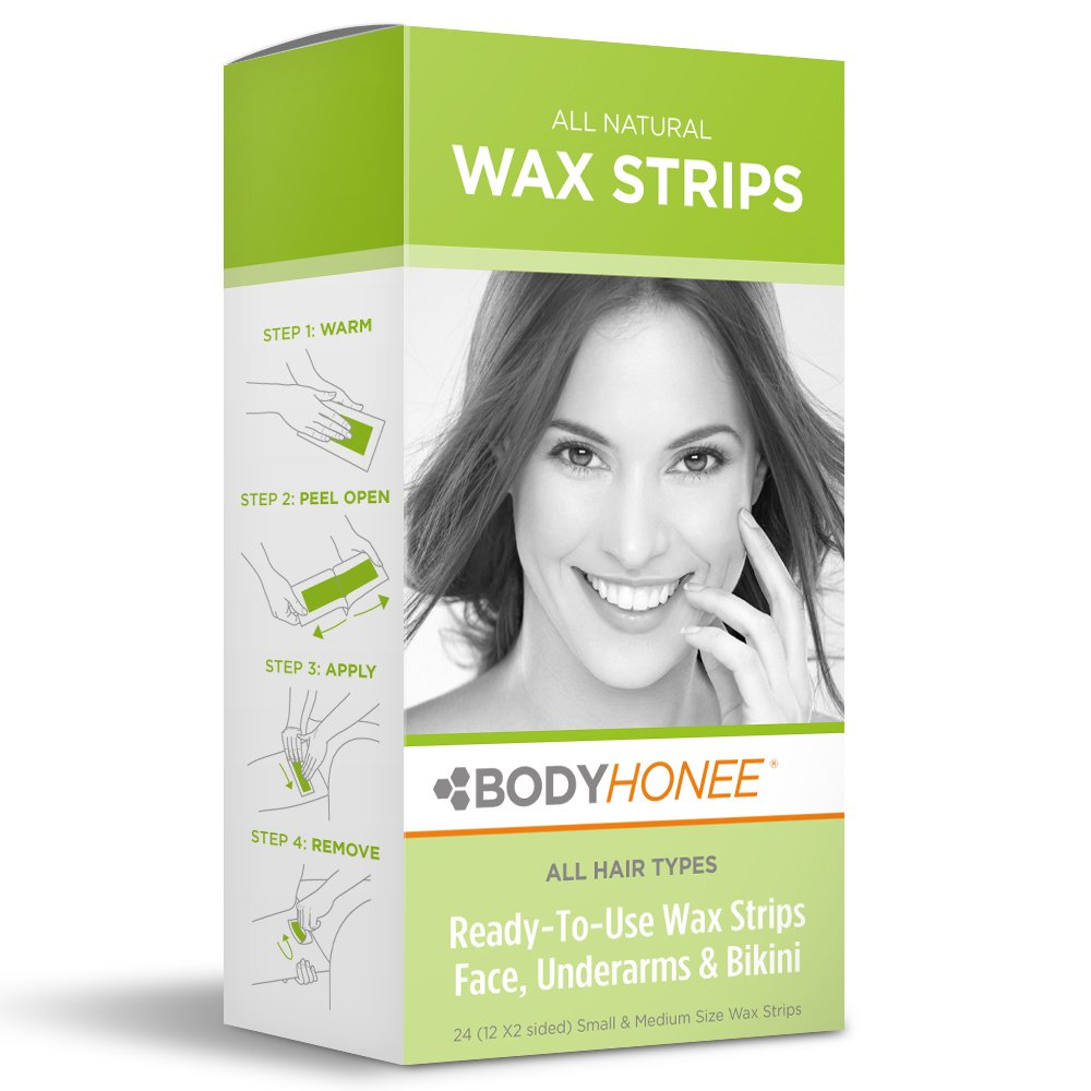 Hair Removal Wax Strips Face, Underarms & Bikini, 24 Count BodyHonee