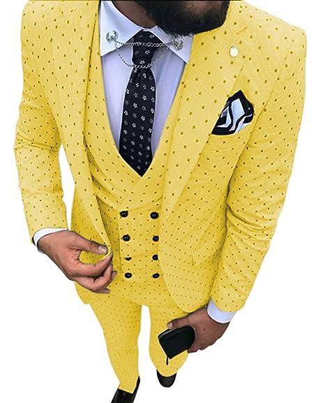 LoveeToo Mens Suit Slim Fit 3 Pieces Two Button Blazer Wedding Suit Dress Pants Set
