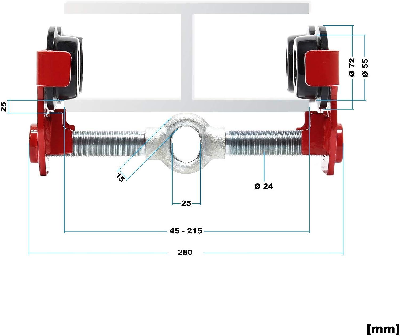 Carro para polipasto 1000kg con ancho de brida de ajuste continuo 55-210mm para vigas de gr/úas