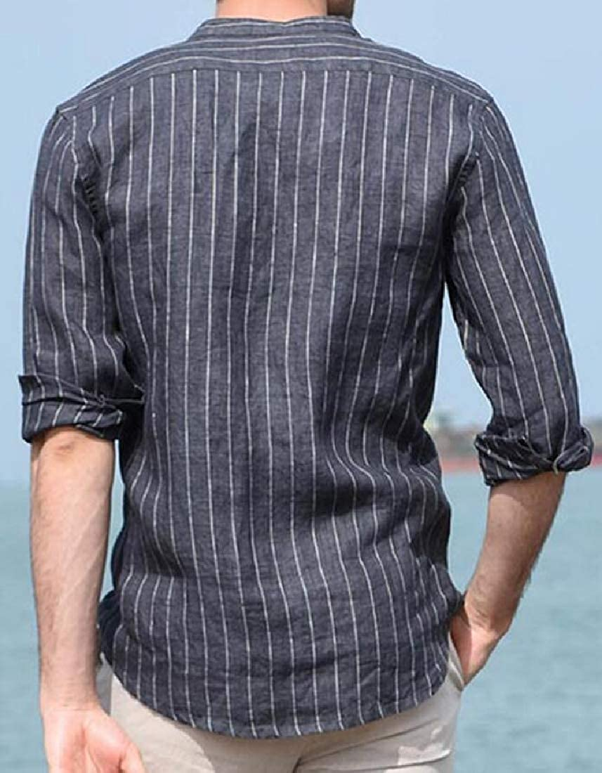 HANA+DORA Mens Slim Fit Long Sleeve Stripe Linen Button Down Shirt