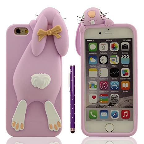"Funda Protectora iPhone 6 Anti golpes, Carcasa para Apple iPhone 6S 4.7"", Muy 3D Animal Estilo Linda Conejo Apariencia Suave Silicona Gel Ajuste ..."