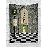 Ambesonne Alice in Wonderland Decorations Collection, Welcome Wonderland Black and White Floor Tree Landscape Mushroom Lantern, Bedroom Living Room Dorm Wall Hanging Tapestry, Multi
