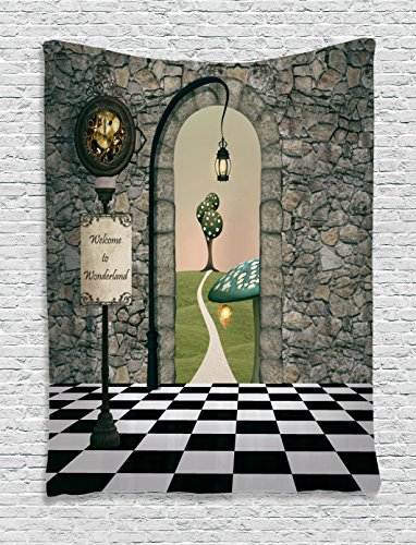Alice in Wonderland Tapestry Decorations by Ambesonne, Welcome Wonderland Black and White Floor Tree Landscape Mushroom Lantern, Bedroom Living Room Dorm Wall Hanging Tapestry, (Alice And Wonderland Decorations)