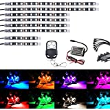AMBOTHER 8Pcs Motorcycle LED Light Kit Strips Multi-Color Accent Glow Neon Lights Lamp Flexible with Remote Controller for Harley Davidson Honda Kawasaki Suzuki Ducati Polaris KTM BMW (Pack of 8)