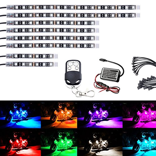 AMBOTHER 8Pcs Motorcycle LED Light Kit Strips Multi-Color Accent Glow Neon Lights Lamp Flexible with Remote Controller for Harley Davidson Honda Kawasaki Suzuki Ducati Polaris KTM BMW, 1 Year Warranty ()