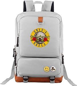 Guns-N-Roses Travel Laptop Backpack Business Slim Durable Computer Bag for Men Women Gray