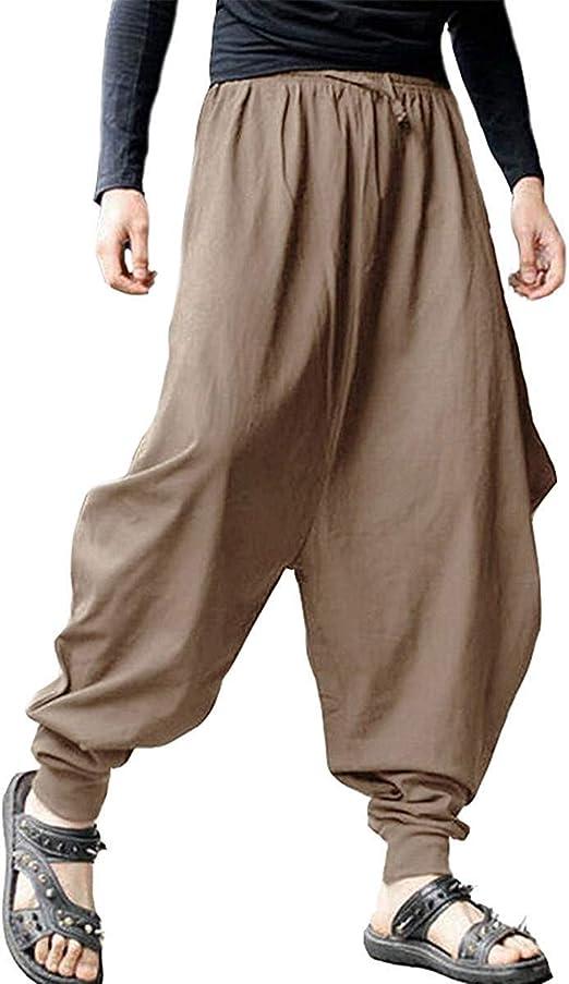AITFINEISM Mens Casual Baggy Boho Aladdin Hippie Yoga Harem Pants