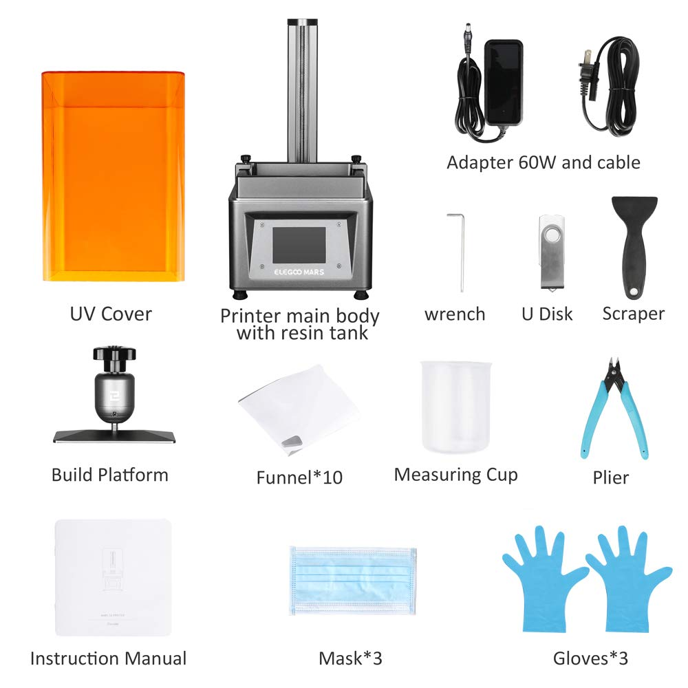 x 6.1 W ELEGOO Mars UV Photocuring LCD 3D Printer with 3.5 Smart Touch Color Screen Off-line Print 4.72 L Printing Size Black Version H x 2.68