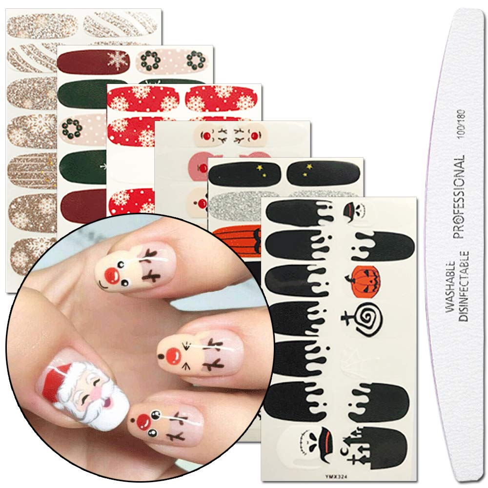WOKOTO 6 Sheets Adhesive Nail Art Polish Wraps Stickers Tips With 1Pcs Nail File Christmas Halloween Manicure Decal Kits Hengxing