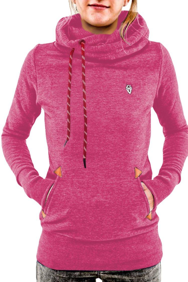 Cutiefox Basic Pure Cotton Tunic Soft Hoody Jersey Sweatshirt For Women(Pink,L)