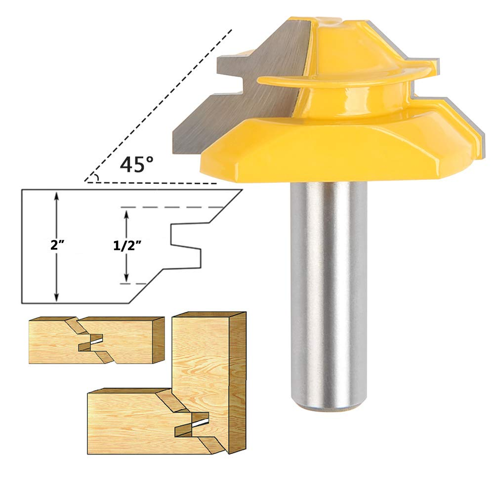 QLOUNI 1/2'' Shaft Lock Miter Router Bit 2'' Diameter 45 Degree Joint Bits for 3/4 Thick Wood Cutter Tool