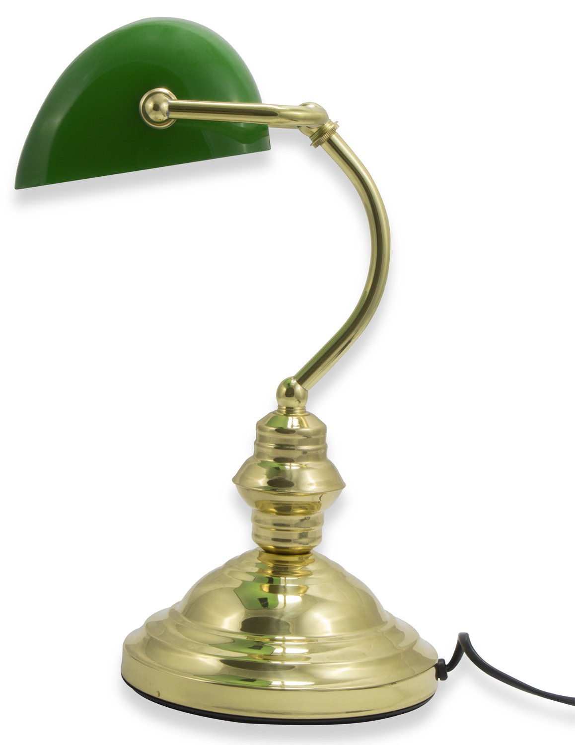 Hausen 60W Classic Bankers Desk Lamp Polished Brass with Green Glass Swivel Head