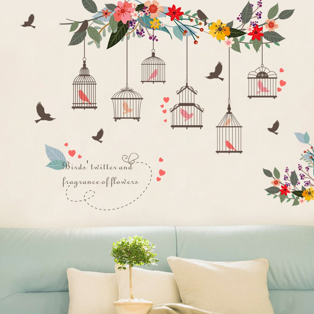 Youyouyu Colorful Fower Bird Birdcage Wall Atickers for Living Room Posters Garden Floral Wedding Decoration PVC Wall Art Decals(Birdcage C)