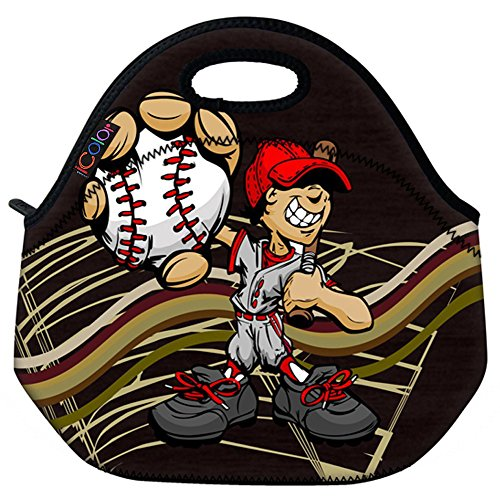 ICOLOR Baseball Boys Insulated Neoprene Lunch Bag Tote Handbag lunchbox Food Container Gourmet Tote Cooler warm Pouch For School work (Kids Baseball Lunch Box)