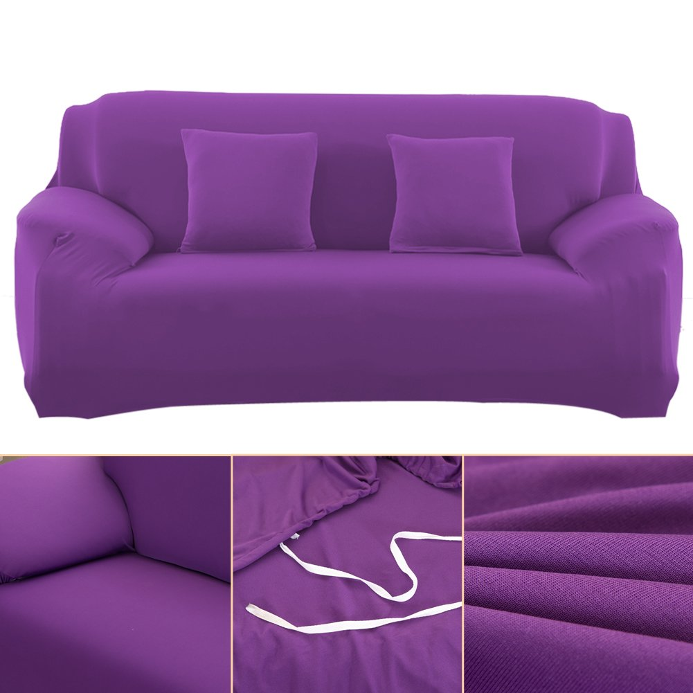 Vipeco Slipcover Stretchable Pure Color Sofa Cushion Covers (Loveseat Purple) by Vipeco (Image #2)