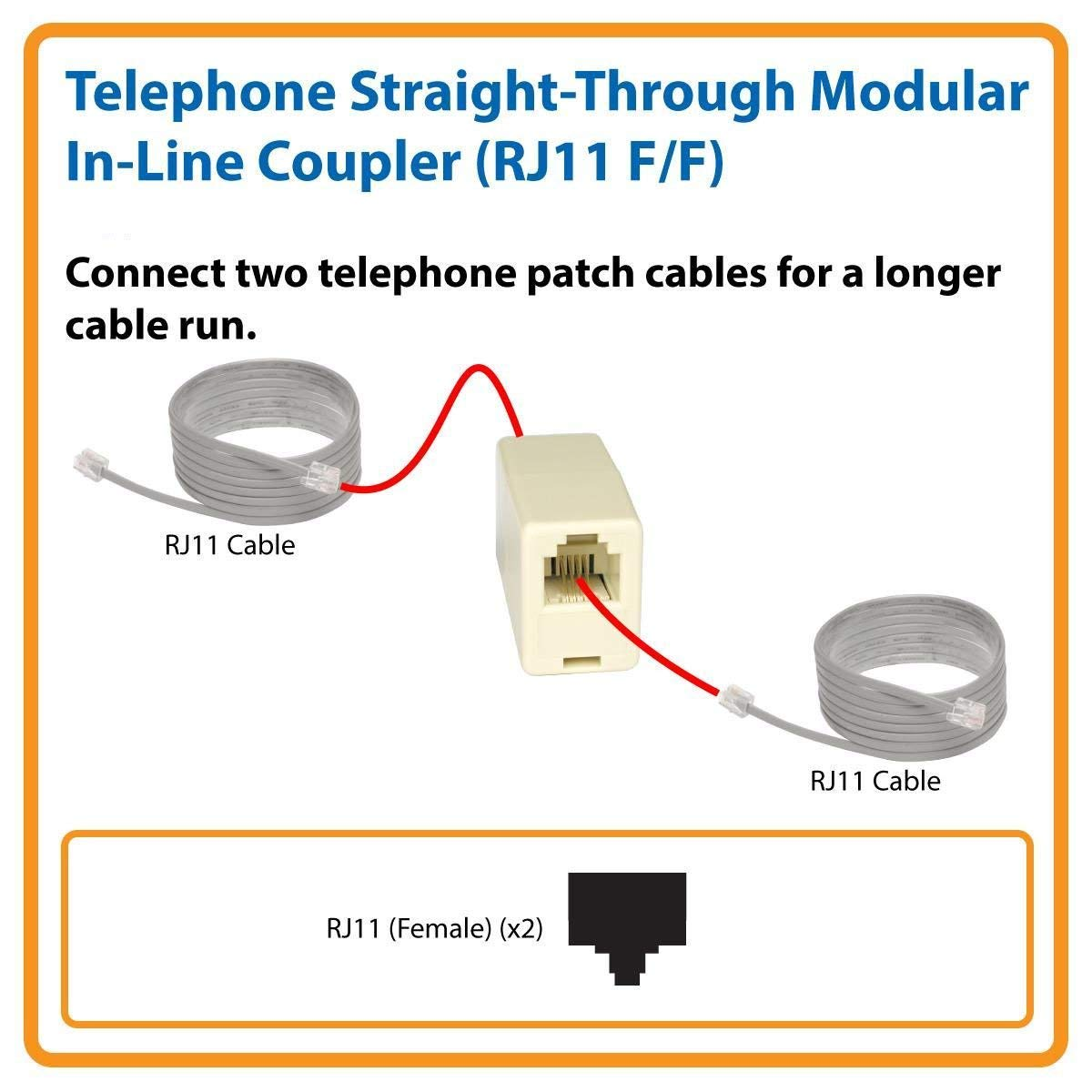 Rj11 Straight Wiring Diagrams Hubs Cable Diagram Connections Amazon Com Imbaprice 6p4c Telephone Inline