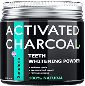 Activated Charcoal Teeth Whitening Powder - Improved Formula – Coconut Teeth Whitener – Effective Remover Tooth Stains for a Healthier Whiter Smile - Product of UK by Sunatoria
