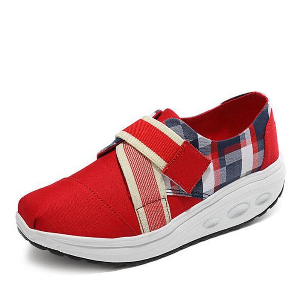 Zapatos casuales de las mujeres, zapatos de la sacudida de la lona primavera verano plataforma de otoño Zapatos sacudiendo cuña talón Magic Tape señoras Fitness Shake Shoes ( Color : Rojo , tamaño : 35 ) 35 Rojo
