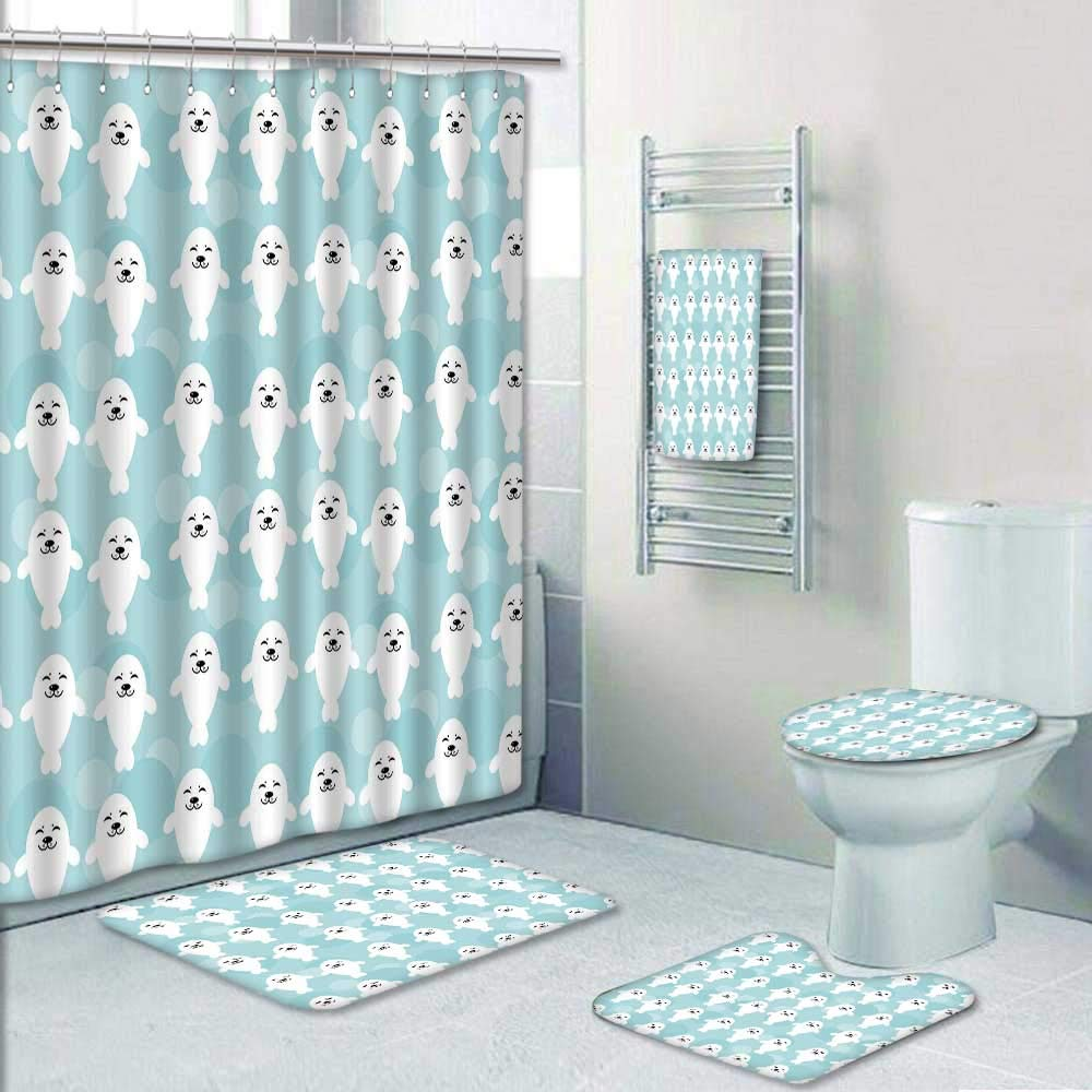 Philip-home 5 Piece Banded Shower Curtain Set Seamless with Funny Cute White Seals Animal on a Blue Decorate The Bath by Philip-home
