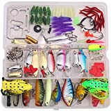 Bluenet Fishing Lure Kit 1 Set 134pcs, Metal Wire Bait Popper VIB Crank Pencil Minnow Lure Soft Lure Frog Hook Plastic Tool Box Set Kit