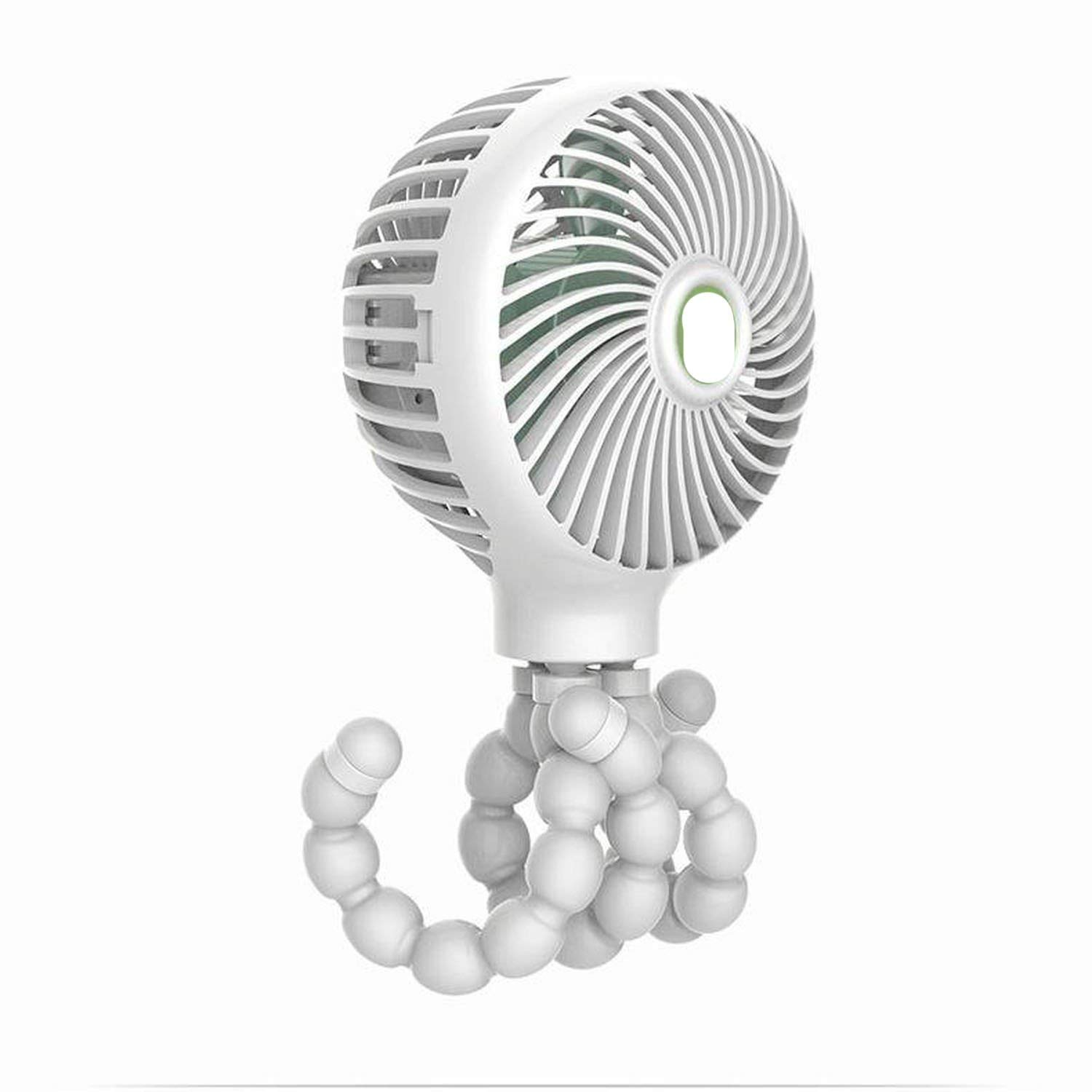 Mini Pram Fan Personal Portable Desk Handheld Baby Bed Fan with USB Rechargeable Battery Operated Cooling Table Fan,White