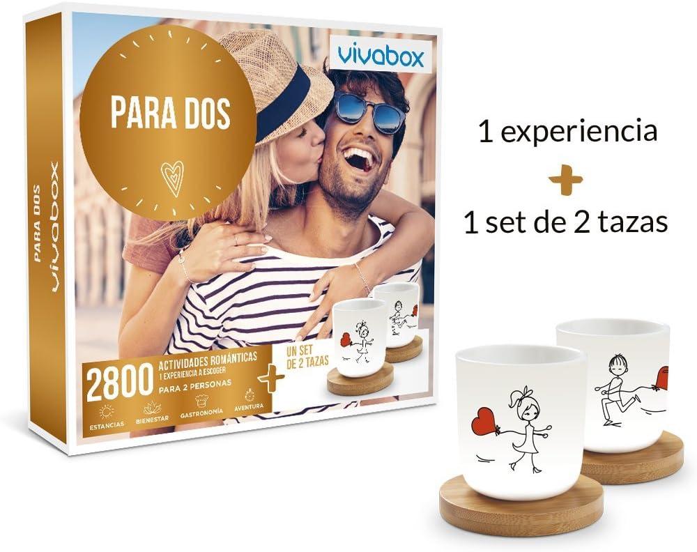 VIVABOX Caja Regalo -para Dos- 1.640 Aventuras únicas. Incluye: un Juego de 2 Tazas Originales con Platos de Madera