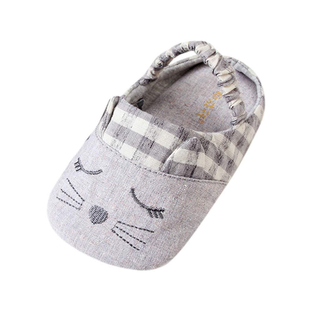 NUWFOR Baby Boy Girl Cartoon Cute Cartoon Cat Pattern Shoe Toddler Shoes Winter(Gray,19-36Years)