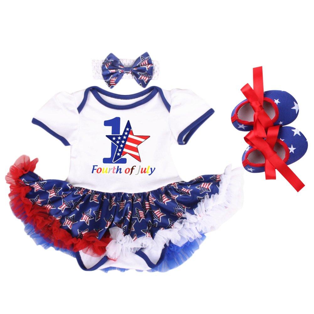 4th of July Outfits Baby Girl 2Pcs//3Pcs Set Tutu Romper Dress Up American Flag Princess One-Piece Bodysuit Headband Shoes