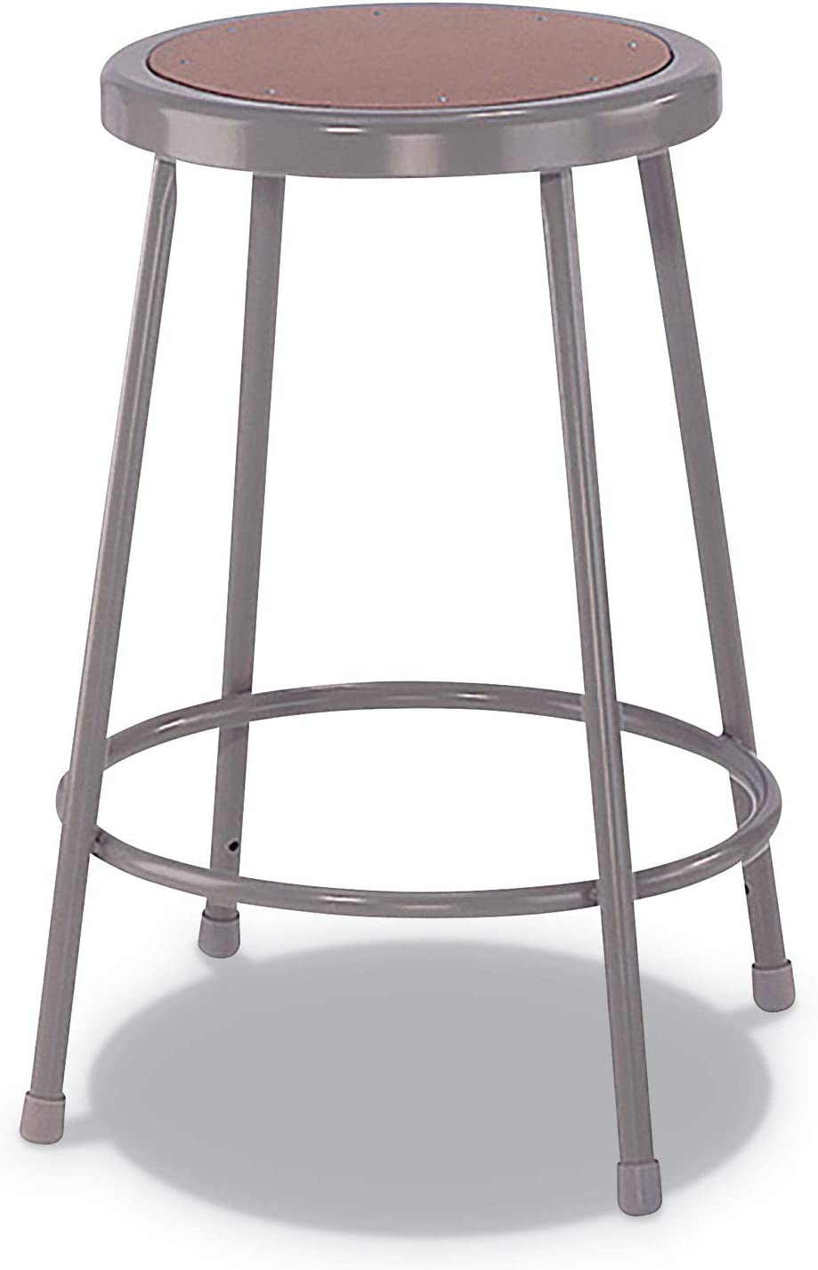 Alera IS6624G Industrial Metal Shop Stool, 24-Inch Seat Ht, Supports 300 lbs, Brown Seat,Gray Back/Base