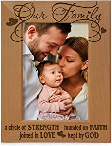 Our Family - A circle of Strength, founded on Faith, joined in Love, kept by God Engraved Natural Wood Picture Frame, Family Gifts, Housewarming, Religious & Spiritual, Wedding gifts (5x7-Vertical)