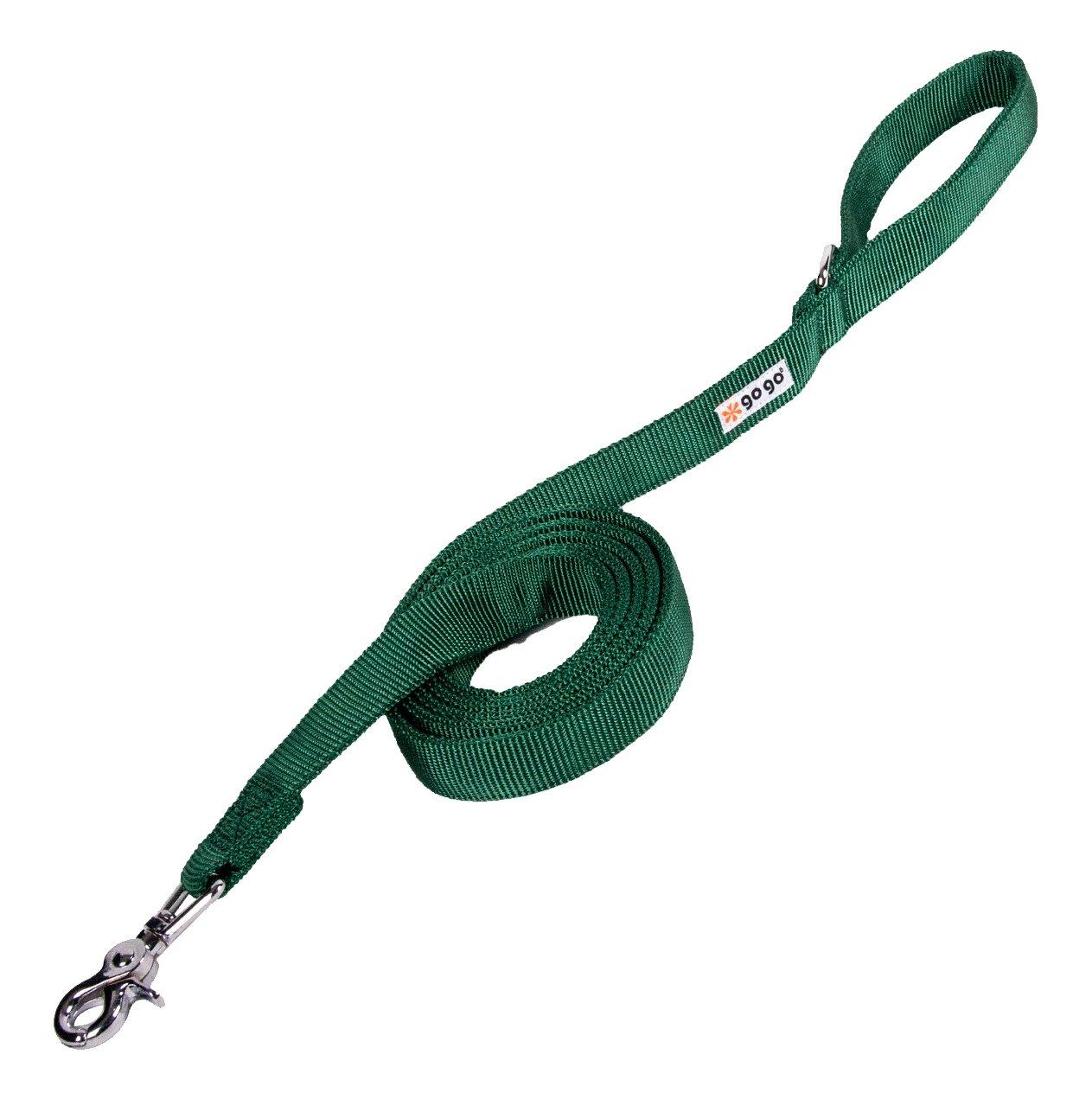 GoGo Pet Products 1-Inch Wide Comfy Nylon Dog Leash, 6-Feet Long, Hunter Green