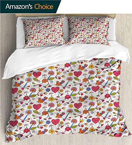 (Home Duvet Cover Set,Box Stitched,Soft,Breathable,Hypoallergenic,Fade Resistant Print Quilt Cover Set White Queen Pattern Bedding Collection-Hearts Wildflowers Domestic Cat (90
