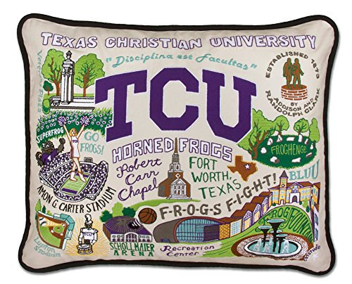 TEXAS CHRISTIAN UNIVERSITY (TCU) COLLEGIATE EMBROIDERED PILLOW - CATSTUDIO by Catstudio Embroidered Pillow