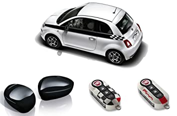 Fiat 500 - Pack deportivo de rayas laterales, espejo y funda para llaves, color negro - 71807472: Amazon.es: Coche y moto