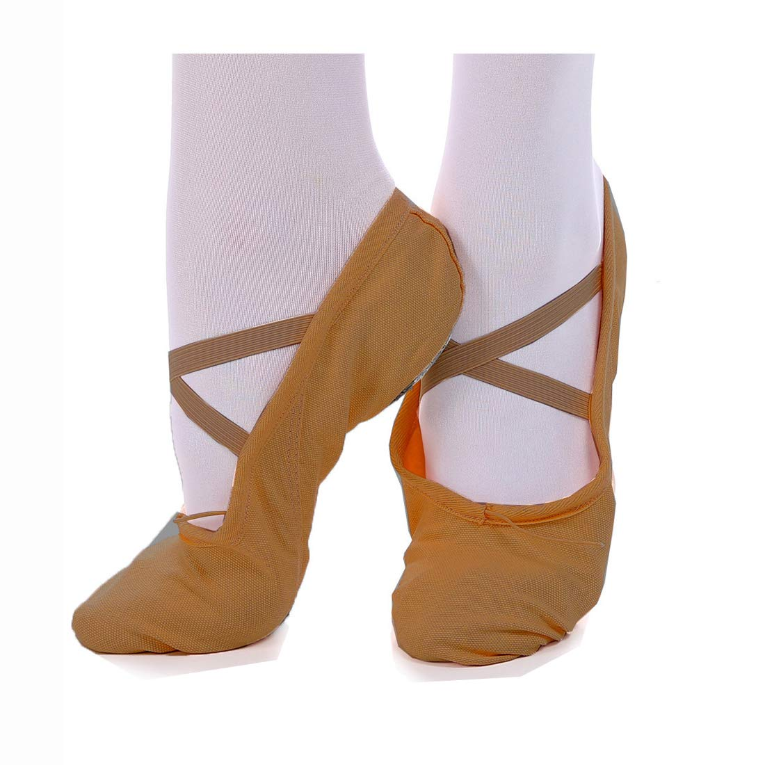iMucci Girl Coffee Ballet Dance Shoes - Professional Cotton Canvas Upper and Genuine Leather Sole