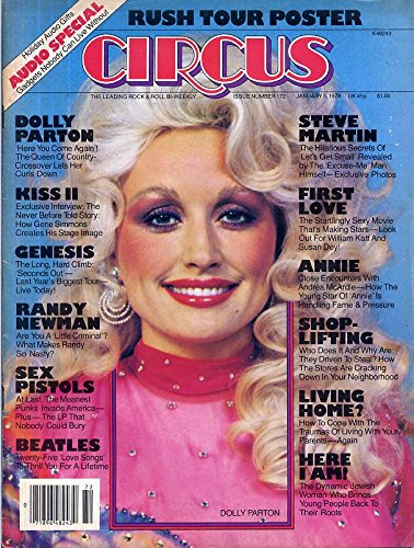 Circus Magazine DOLLY PARTON Sex Pistols RUSH CENTERFOLD William Katt SUSAN DEY Genesis KISS January 5, 1978 C