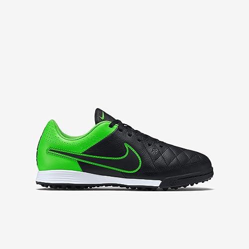 a85512320292 Amazon.com  Nike Youth Tiempo Genio Leather Turf (Black Green Strike ...