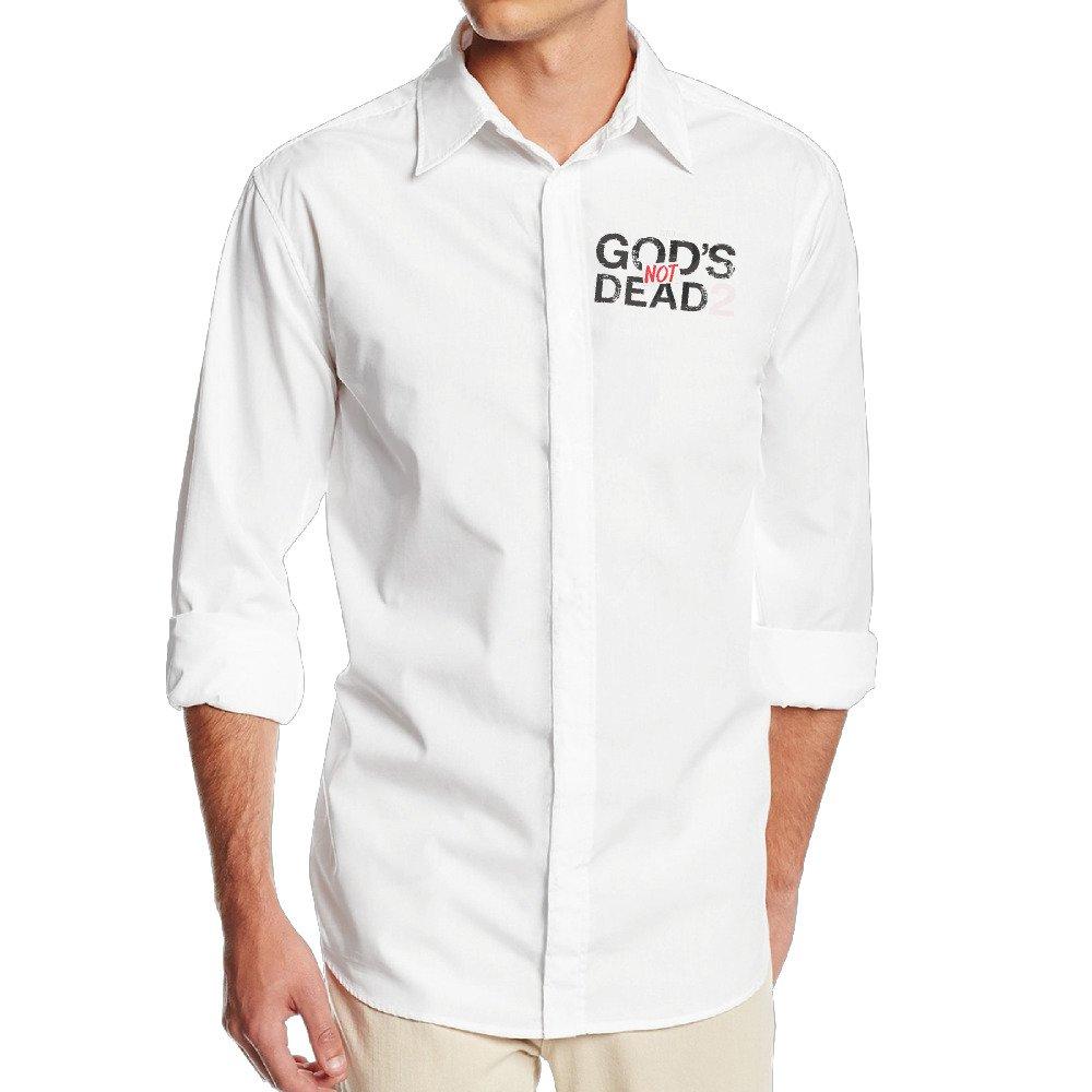 Boss-Seller Mens Simple Gods Not Dead Poster Long Sleeve Dress Shirt White