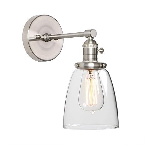 Phansthy Industrial Single Sconce Brushed Nickel Bathroom Vanity