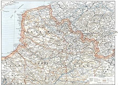 Map Of Uk 1900.France Nord De La France 1900 Map Amazon Co Uk Kitchen Home