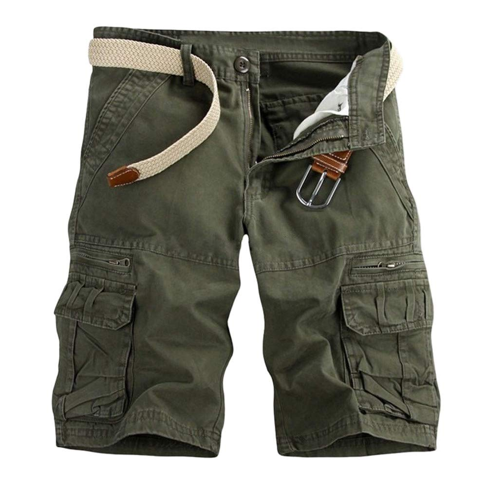 LIUguoo Men's Casual Pure Color Outdoors Pocket Beach Work Trouser Cargo Shorts Pant Army Green