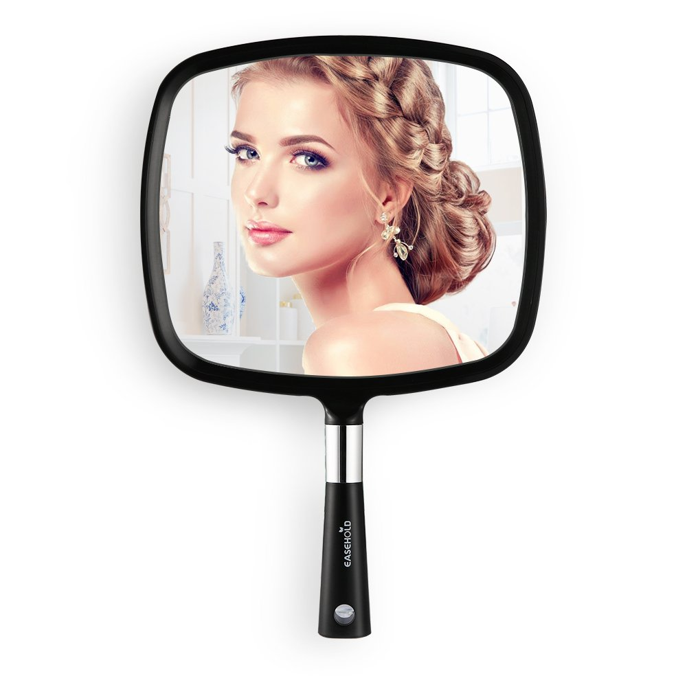 Easehold Handheld Mirror with Handle,Bathroom Mirror Wall Mounted with Hook Hole for Vanity Makeup Home Salon Travel Use (Black)